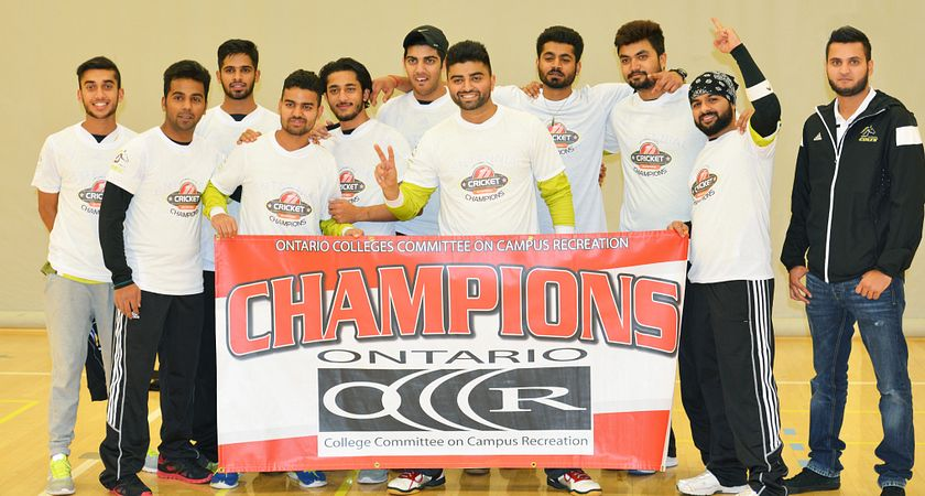 picture of the Centennial Colts Cricket Team holding the OCCCR Championship Banner