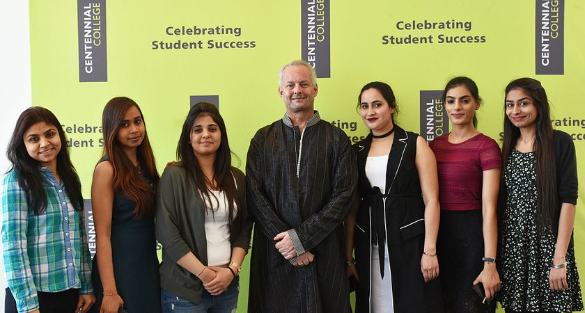 Mark Coote with the Centennial International Desi Scholarship recepients