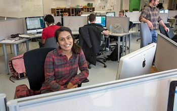 An advertising student at her computer