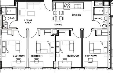 Picture of the residence floor plan - four bedroom, two bathroom