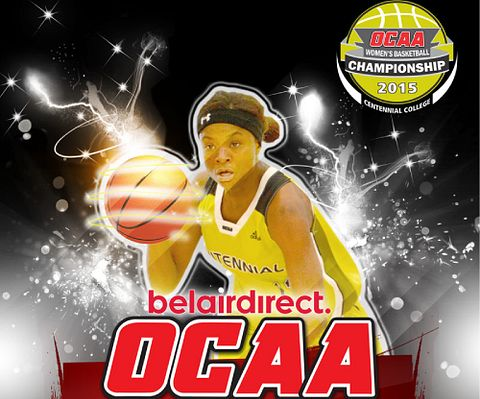 picture of a female basketball player with the caption OCAA Women's Basketball Championship 2015 Led young College.