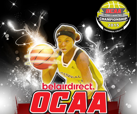 picture of a female basketball player with the caption OCAA Women's Basketball Championship 2015 Centennial College.