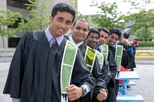Picture of a lineup of new graduates at convocation 2015