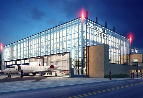 Concept image of Centennial College Downsview Park Aerospace Campus
