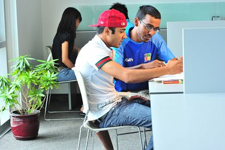 Picture of students studying at progress library