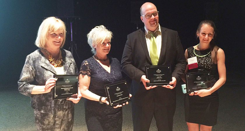 Picture of Centennial College's CICan Award winners in Winnipeg Sharon Mooney, Trish Dryden, Lorne Hilts and Anna Serbina.