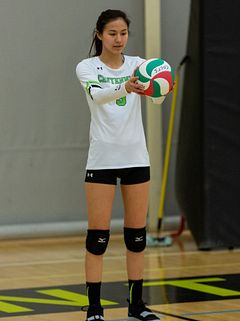Photo of Emily Joe Playing Volleyball