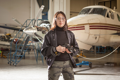 Photo of Photography student at the hangar