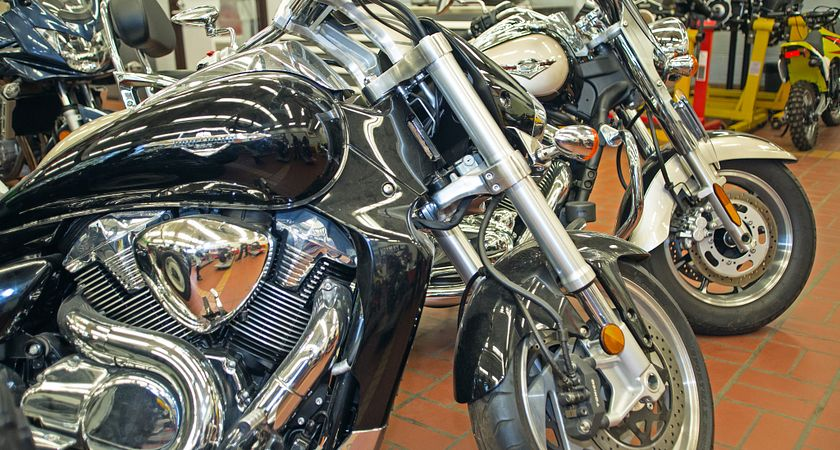 picture of v-twin motorcycles in the garage at Centennial College's Ashtonbee Campus
