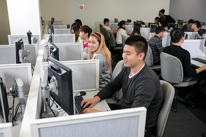 Picture of students in the Assessment Centre taking the test