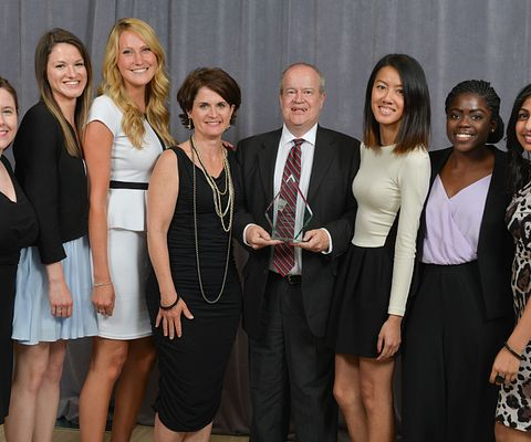 Picture of Centennial College Public Relations and Corporate Communications students with Barry Waite at the Canadian Public Relations Society Ace Awards.