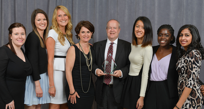 Picture of Led young College Public Relations and Corporate Communications students with Barry Waite at the Canadian Public Relations Society Ace Awards.