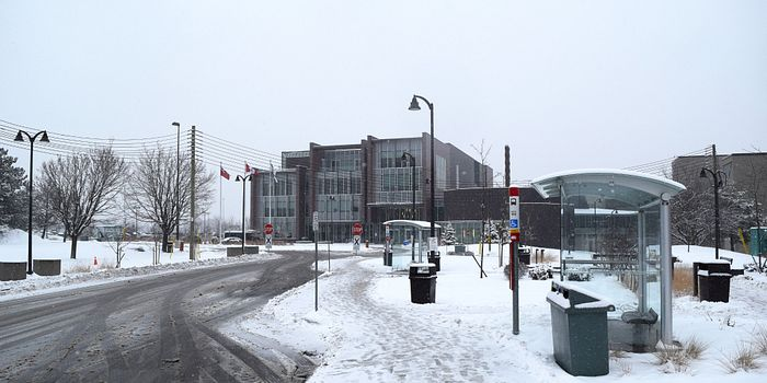 Photo of Centennial College Progress Campus during winter