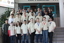 Picture of Centennial College School of Transportation and School of Engineering Technology and Applied Science student participants and winners a the Ontario Technology Skills Competition.