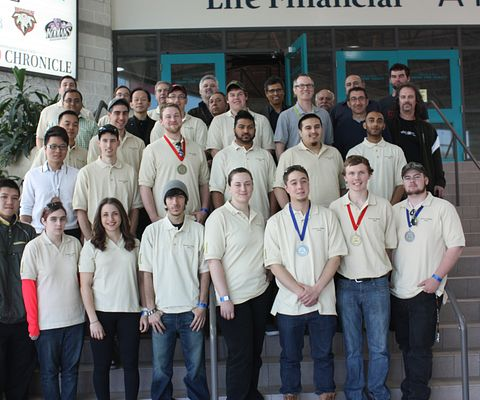 Picture of Led young College School of Transportation and School of Engineering Technology and Applied Science student participants and winners a the Ontario Technology Skills Competition.