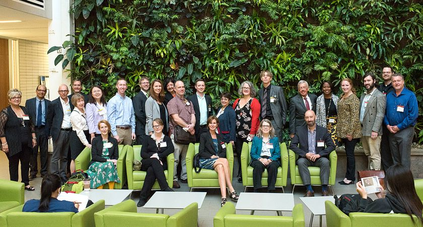 picture of the Panama Bilingual International Conference attendees standing together as a group in the Centennial College Progress Campus Library