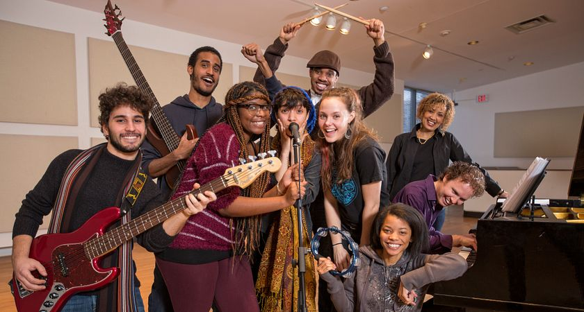 picture of the centennial college music industry arts and performance students with their instruments