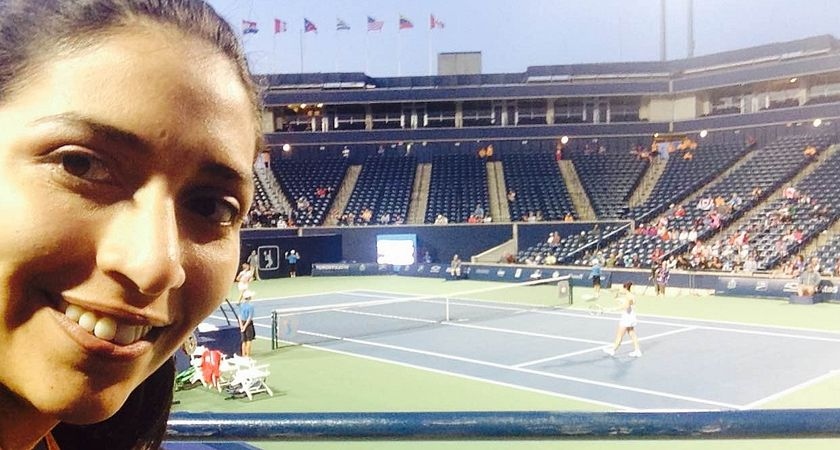 Picture of Centennial College Sports Journalism student Pamela Kiss at the Pan Am Games Tennis event