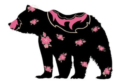 Silhouette of a black bear with decorative pink flowers on its fur