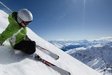 Picture of a student skiing down a mountainside