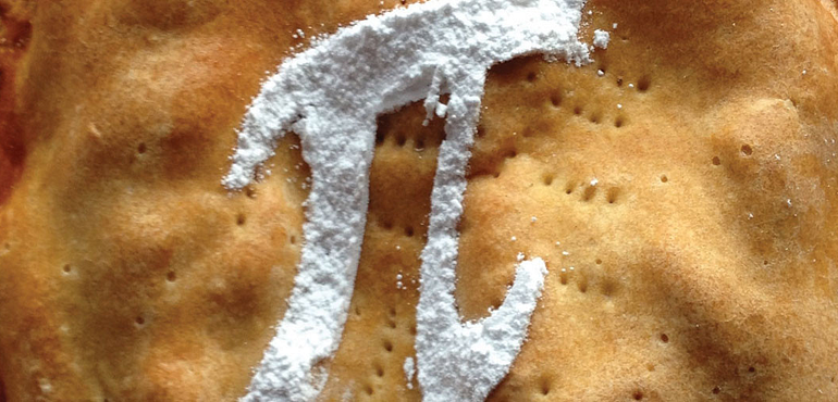 pie with  icing sugar pi symbol