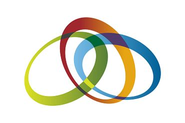Picture of three colourful rings overlapping one another