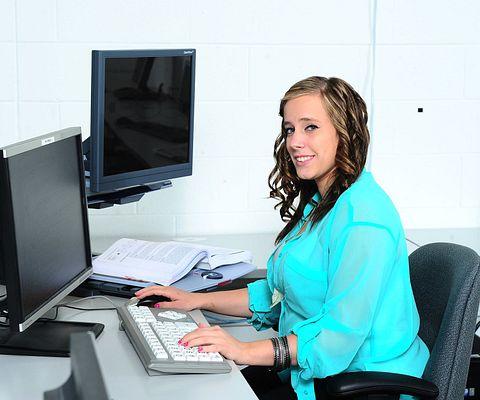 female student on keyboard