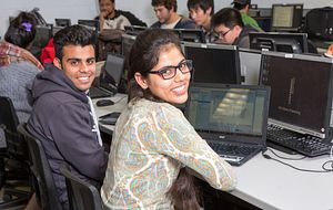 picture of centennial college students completing the technology feedback student survey