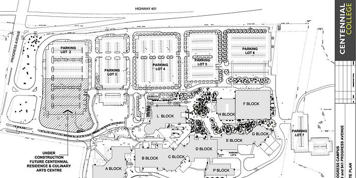 Picture of the Centennial College Progress Campus parking map