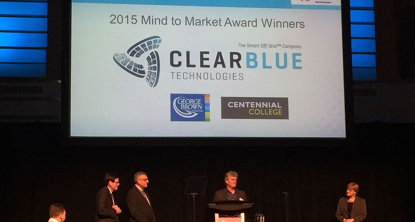 Picture of Centennial College industry partner Clear Blue Technologies winning the Mind-to-Market award