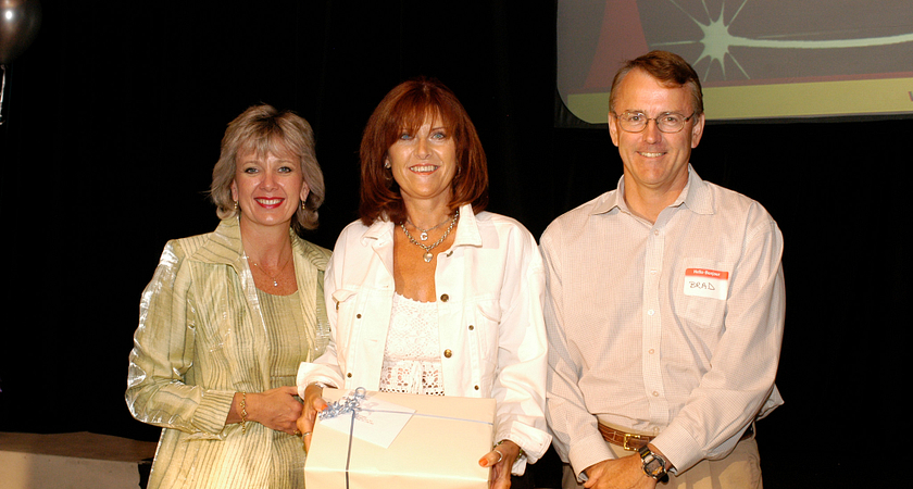 picture of Ann Buller with professor Christine Gauthier and CFO Brad Chapman at Centennial Day, 2004.