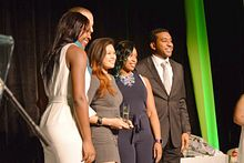 Picture of Centennial College award winning athletes on stage at the Athletics Awards Banquet
