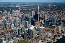 Picture of the CN Tower and Skydome in downtown Toronto from an aerial perspective