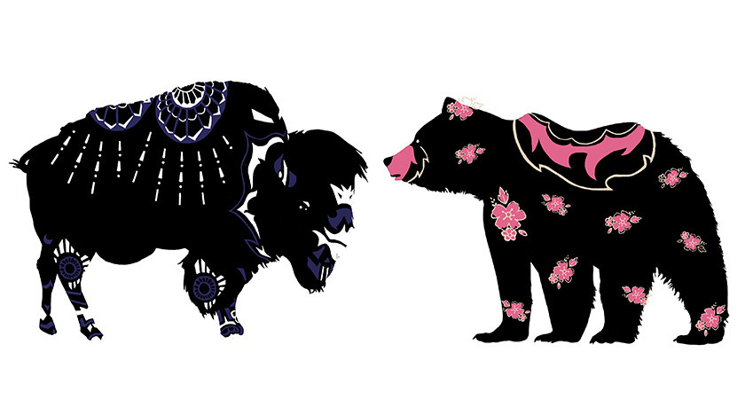 Picture of a bear and buffalo silhouette with pink and blue patterns on their bodies