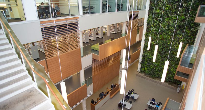 A high-ground view overlooking the open space of the library at the Progress campus, showing study rooms, library bookshelves, computer desks, and the full height of the four-story library and organic wall.