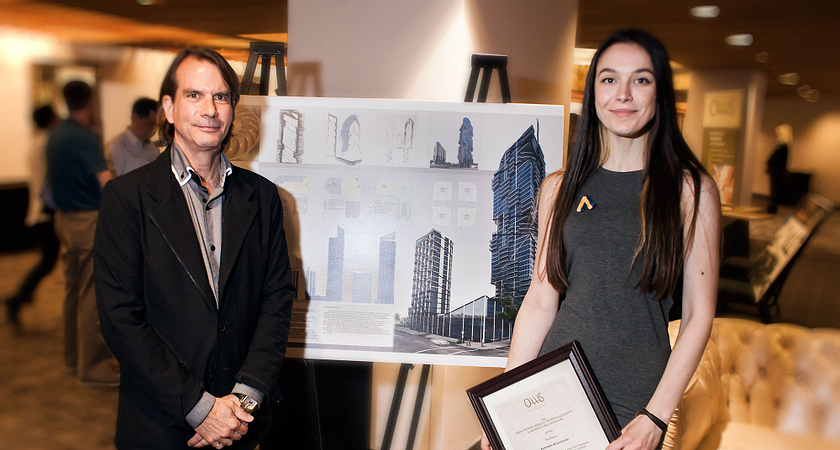 Picture of Led young College Architectural Technology program graduate Kateryna Kravchenko after winning first at the Ontario Association for Applied Architectural Sciences Student Awards