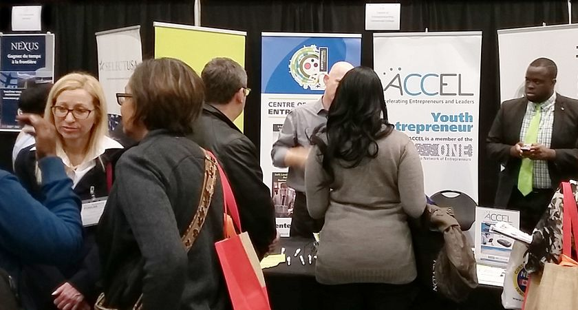 Picture of the Centennial College Small Business booth at the Small Business Forum in Toronto