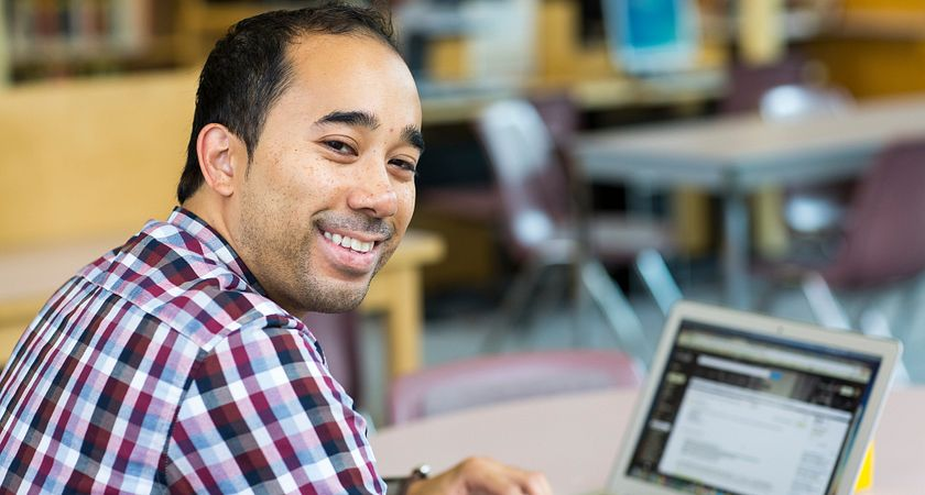 Picture of a Centennial College student taking an online training course
