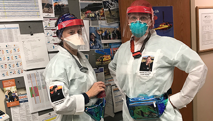 Flight for Life crew in Protective Gear (PPE)