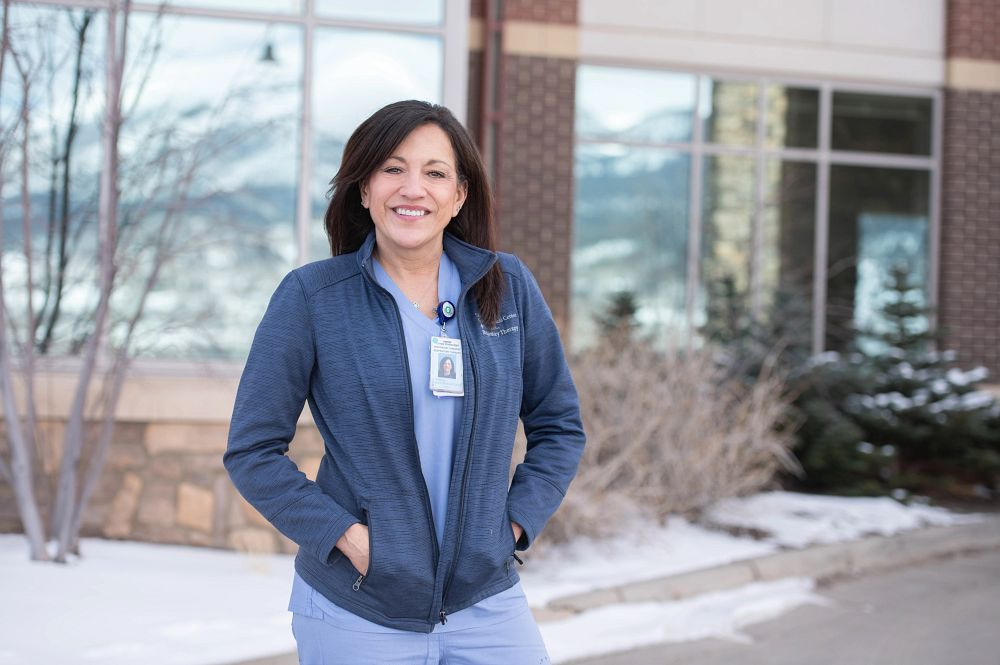 Linda Kirkendall, RT, outside of St. Anthony Summit Medical Center in Frisco, Colorado, March 24, 2021.