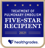 Five-Star Recipient for Treatment of Pulmonary Embolism in 2021