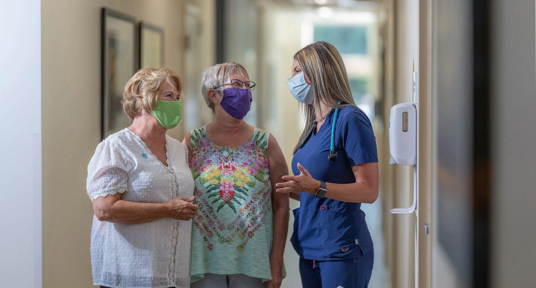 caregiver and visitors
