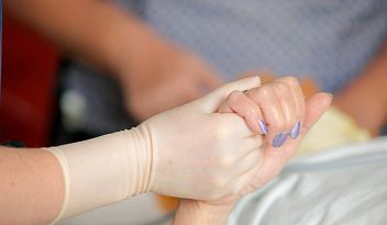 Patient comforted by caregiver