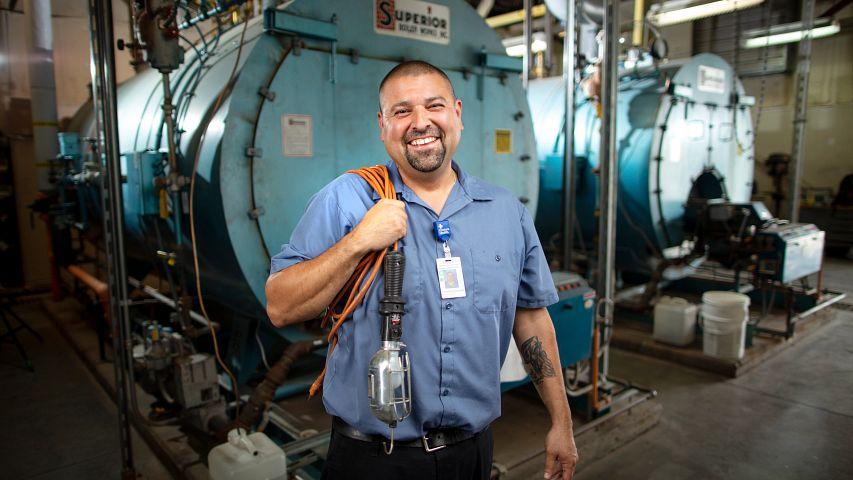 Ricky Rios, Facilities Service Lead, at St. Catherine Hospital in Garden City, KS.