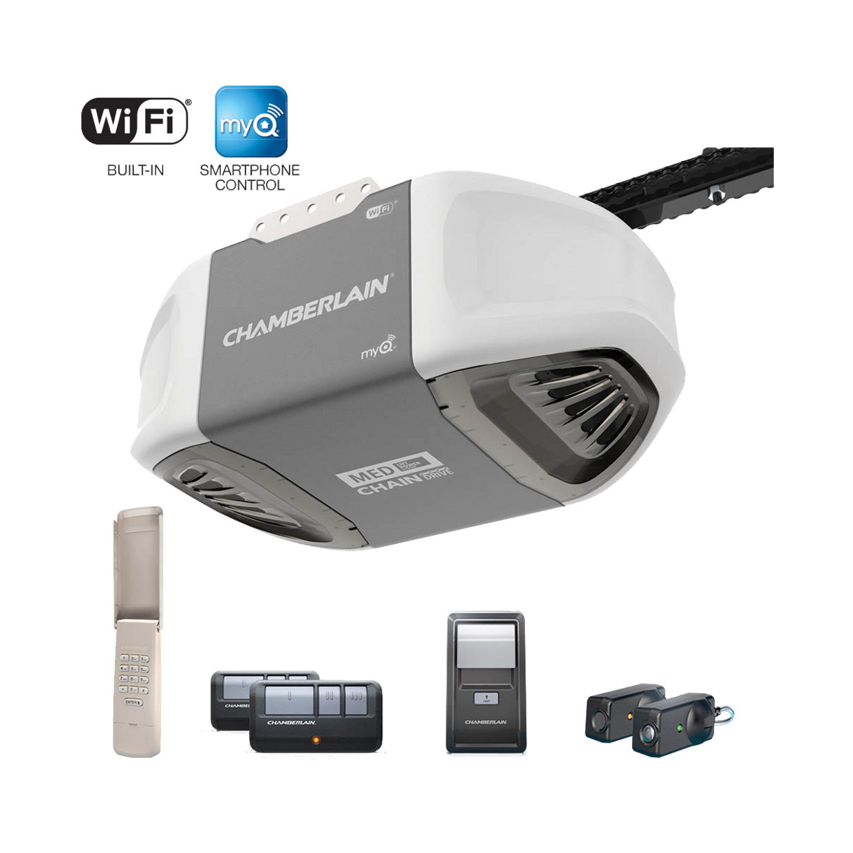 C450 C450C Smartphone-Controlled Durable Chain Drive Garage Door Opener with MED Power IN BOX