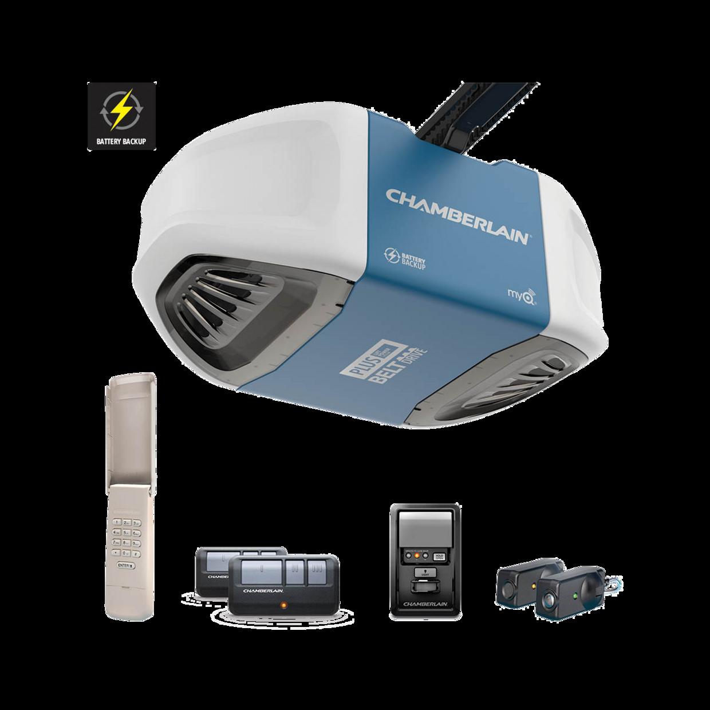 B730 Ultra-Quiet Strong Belt Drive Garage Door Opener with Battery Backup PLUS Power IN BOX