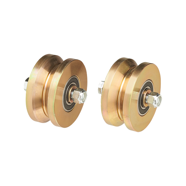"AH107 Pair 4"" Solid Steel Gold Zinc Plated Groove Power Wheels Ball Bearings HERO"