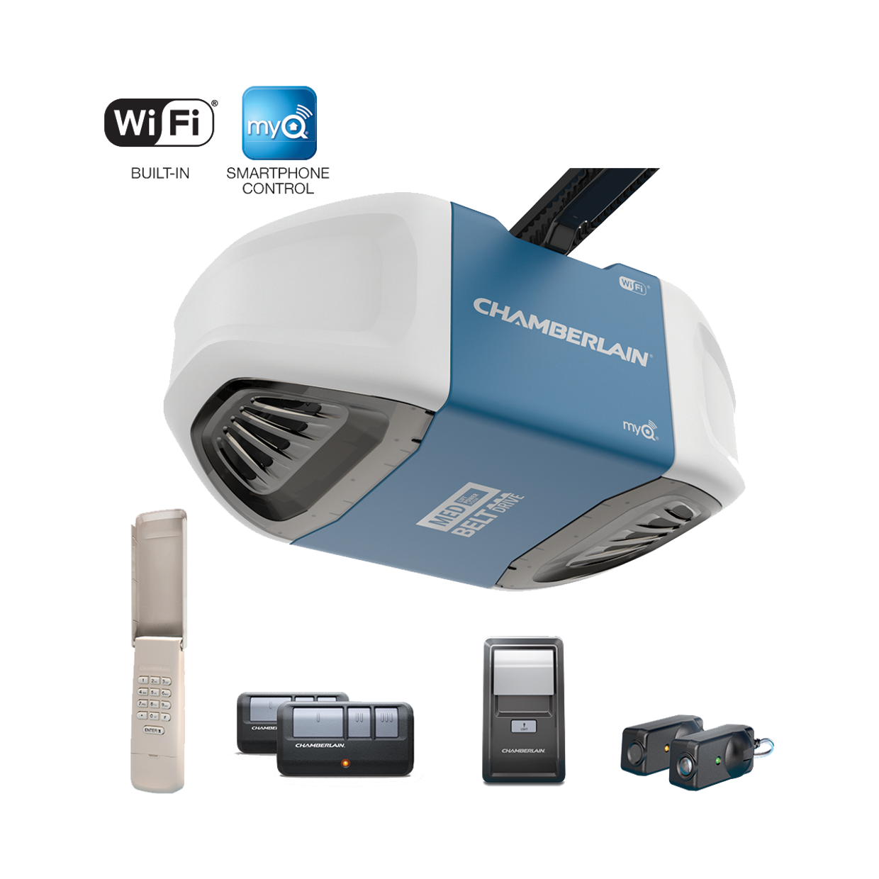 B550 B550C Smartphone-Controlled Ultra-Quiet Strong-Belt-Drive Garage Door Opener with MED Lifting Power IN BOX
