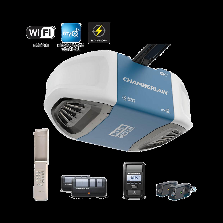 B970 Smartphone-Controlled Ultra-Quiet Belt Drive Garage Door Opener Battery Backup MAX Power IN BOX