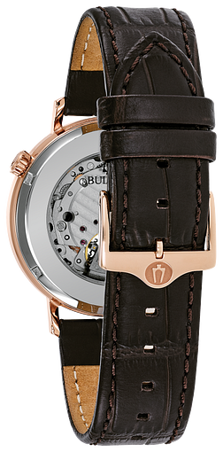d1150798d Men's Rose Gold Automatic Leather Strap Classic Watch   Bulova